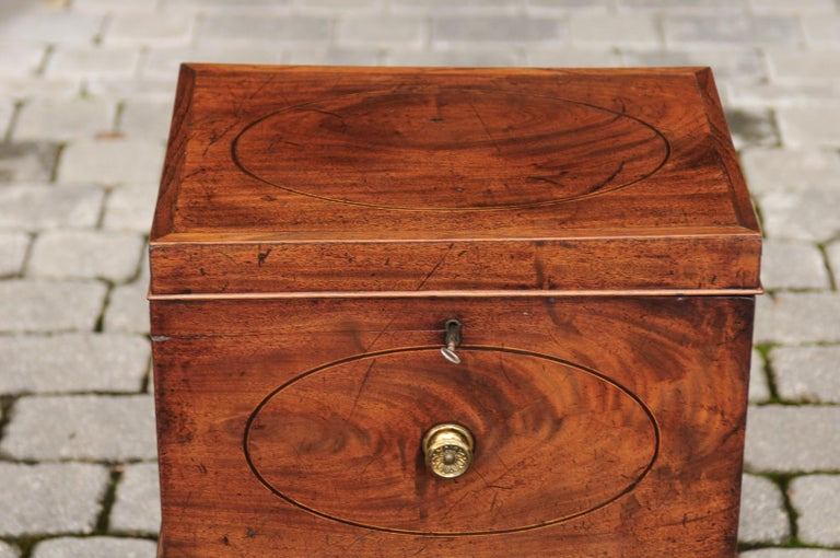 English 1850s Mahogany Cellarette with Banding and Brass Accents on Custom Stand For Sale 1