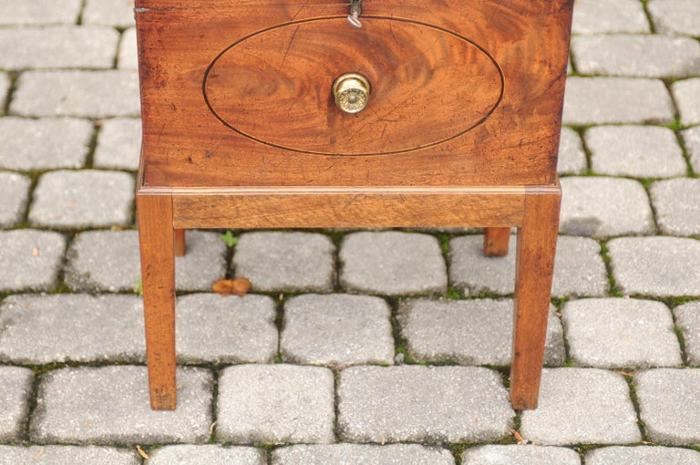 English 1850s Mahogany Cellarette with Banding and Brass Accents on Custom Stand For Sale 2
