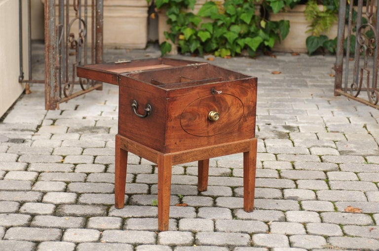 English 1850s Mahogany Cellarette with Banding and Brass Accents on Custom Stand For Sale 3