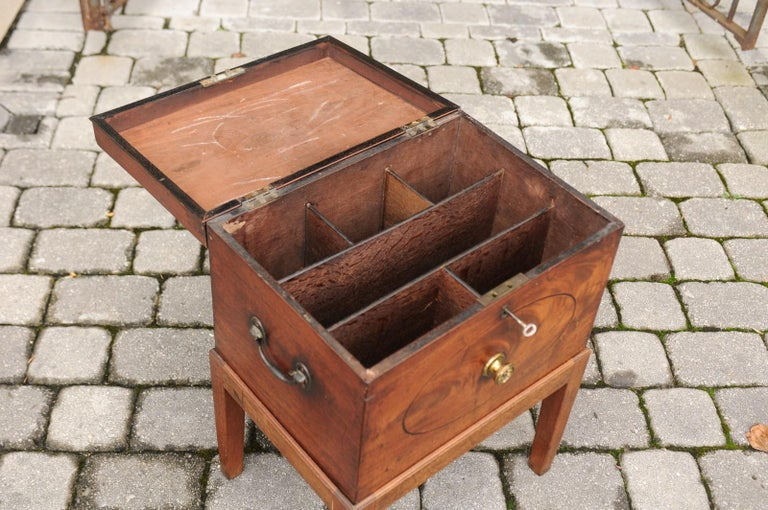English 1850s Mahogany Cellarette with Banding and Brass Accents on Custom Stand For Sale 4