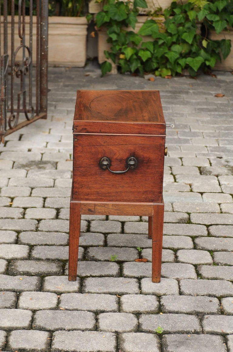 English 1850s Mahogany Cellarette with Banding and Brass Accents on Custom Stand For Sale 5