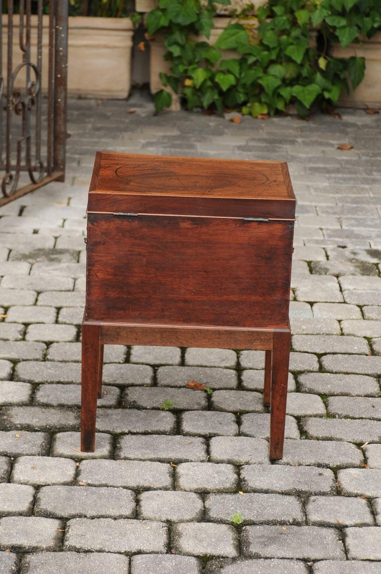 English 1850s Mahogany Cellarette with Banding and Brass Accents on Custom Stand For Sale 6
