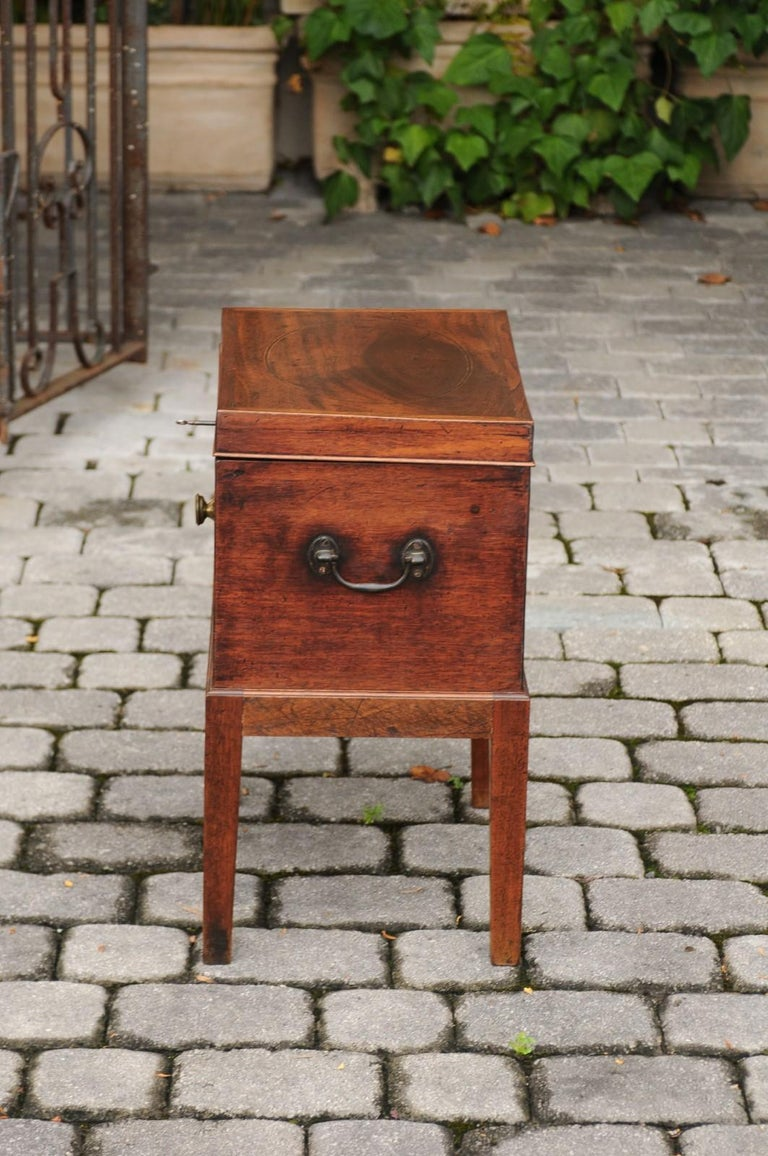 English 1850s Mahogany Cellarette with Banding and Brass Accents on Custom Stand For Sale 7