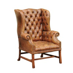 English 1900s Button-Tufted Leather Wingback Chair with Out-Scrolling Arms