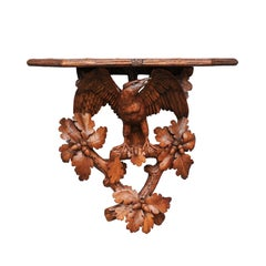 Swiss Black Forest 1890s Wall Bracket with Hand-Carved Eagle and Oak Leaf Motifs