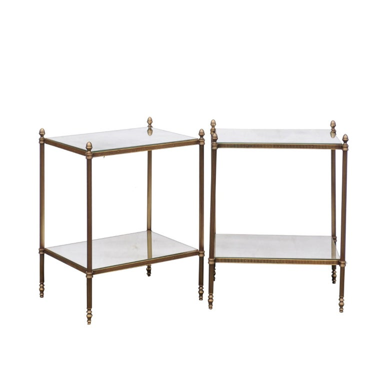 Pair of European Vintage Bronze End Tables with New Mirrored Tops and Shelves