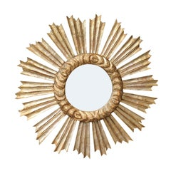 French Carved Giltwood Sunburst Mirror with Cloudy Frame, circa 1950
