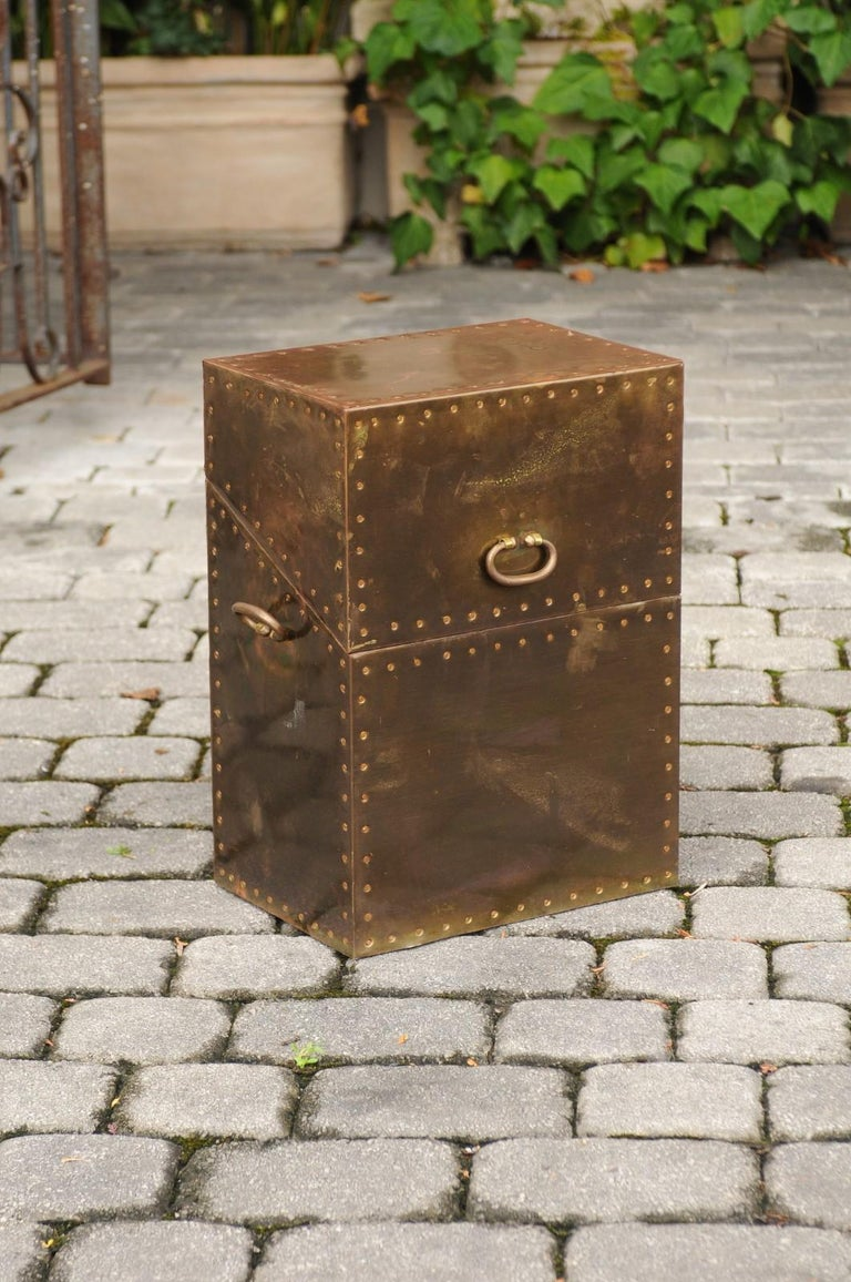 Vintage English Brass-Plated Box with Stud Trim from the Mid-20th Century In Good Condition For Sale In Atlanta, GA