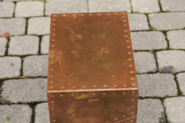 Vintage English Brass-Plated Box with Stud Trim from the Mid-20th Century For Sale 6