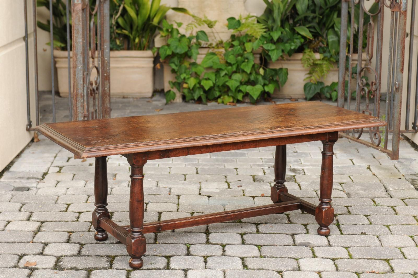 Italian Oak Coffee Table With Turned Legs And Cross Stretcher, Circa 1880  For Sale 2