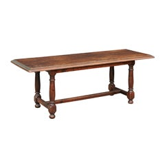 Italian Oak Coffee Table with Turned Legs and Cross Stretcher, circa 1880
