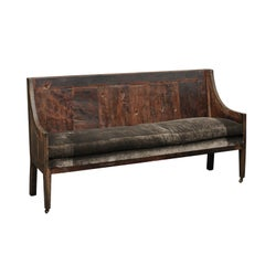 English George III Period Chestnut Bench circa 1780 with Upholstery and Casters