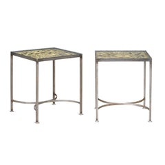 Pair of Contemporary End Tables Made of English 19th Century Brass Fire Screens