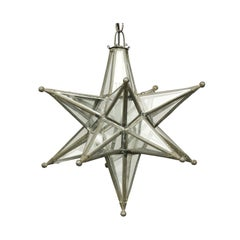 French Midcentury Star Light Pendant with Lead Glass Panels and Metal Frame