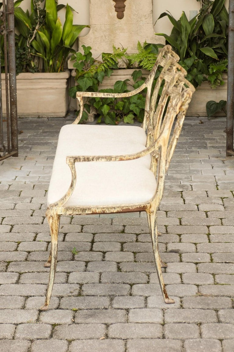 Neoclassical Vintage Wrought-Iron Diana the Huntress Pattern Garden Bench with Upholstery For Sale
