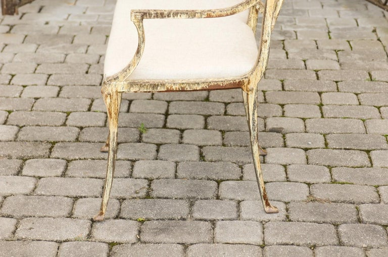 English Vintage Wrought-Iron Diana the Huntress Pattern Garden Bench with Upholstery For Sale