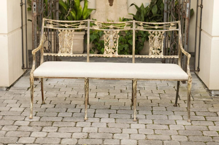 Painted Vintage Wrought-Iron Diana the Huntress Pattern Garden Bench with Upholstery For Sale