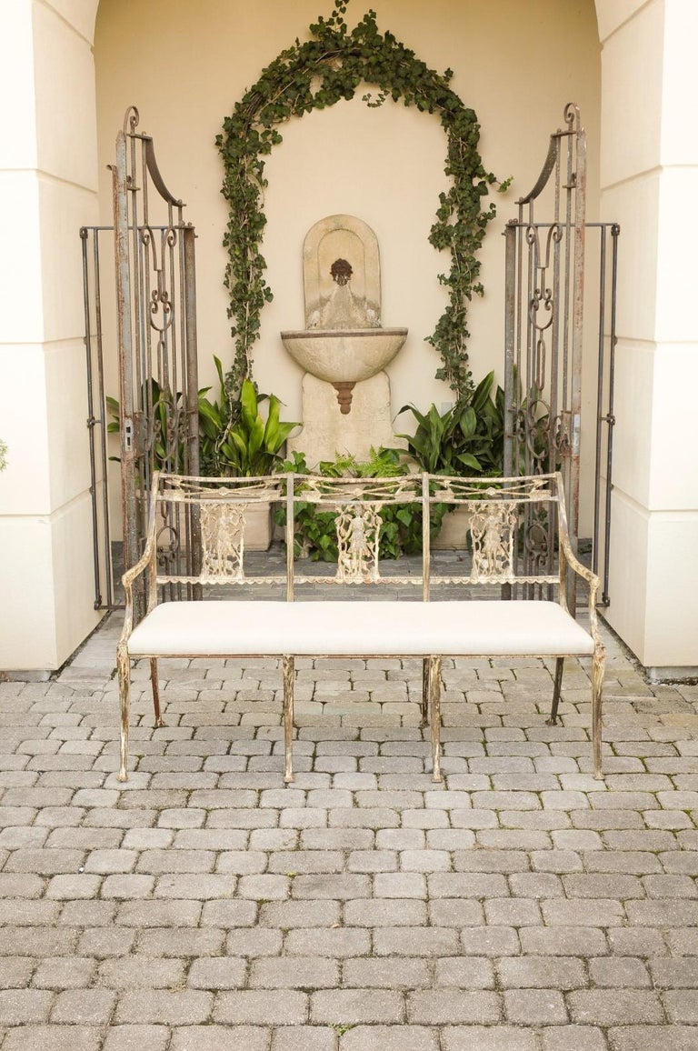 Vintage Wrought-Iron Diana the Huntress Pattern Garden Bench with Upholstery In Good Condition For Sale In Atlanta, GA