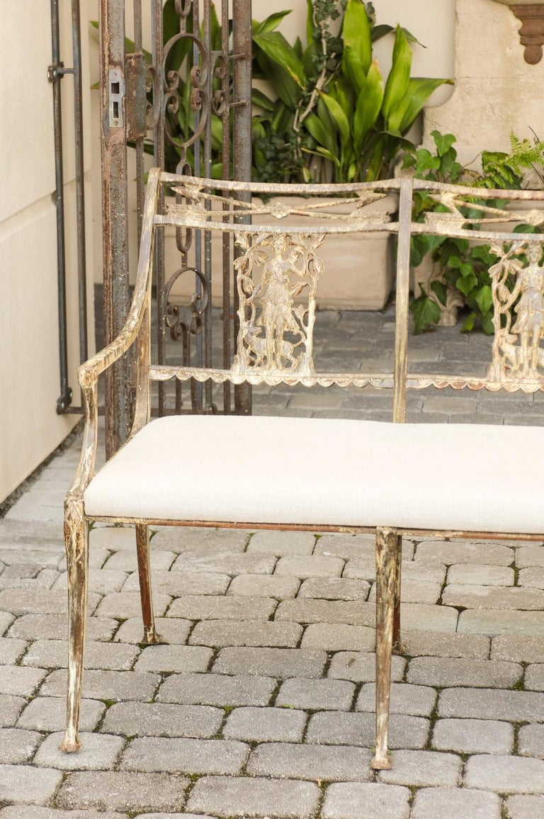 20th Century Vintage Wrought-Iron Diana the Huntress Pattern Garden Bench with Upholstery For Sale