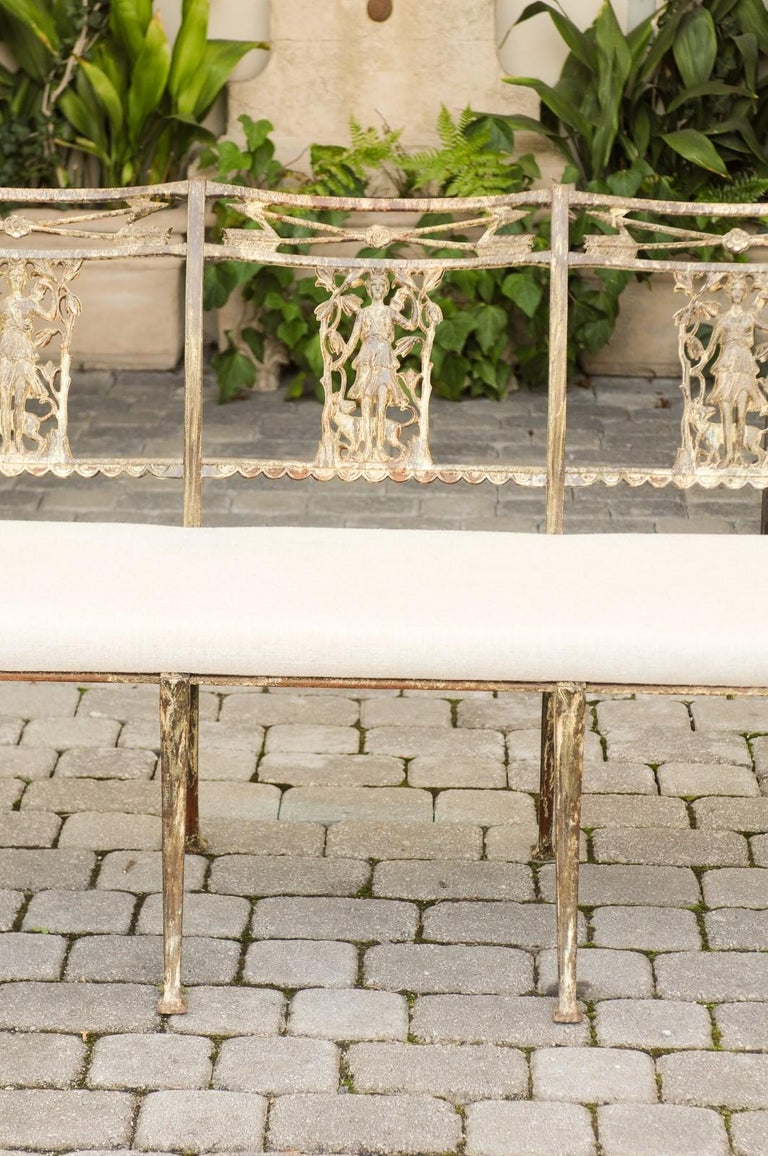 Vintage Wrought-Iron Diana the Huntress Pattern Garden Bench with Upholstery For Sale 1