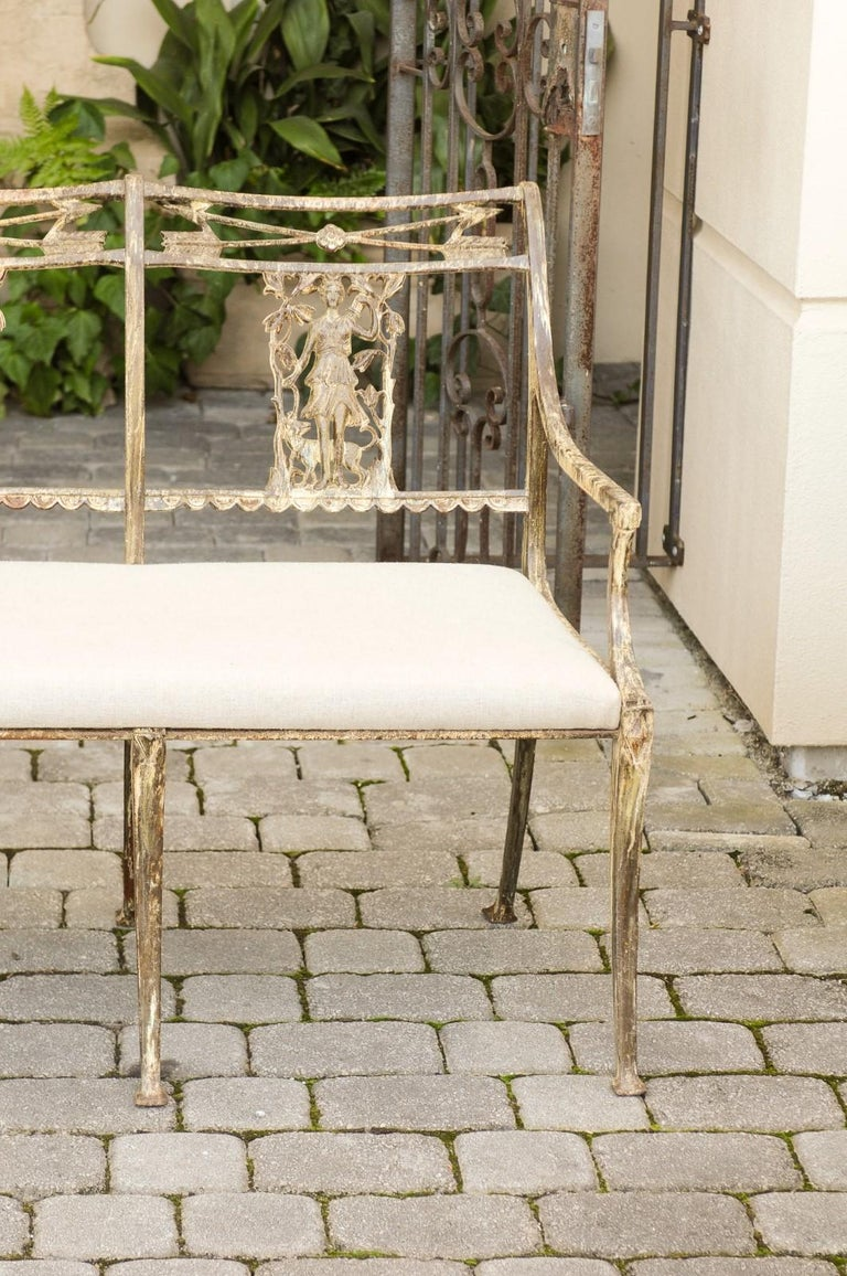 Vintage Wrought-Iron Diana the Huntress Pattern Garden Bench with Upholstery For Sale 2