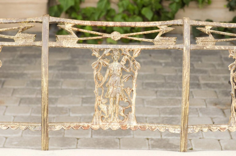 Vintage Wrought-Iron Diana the Huntress Pattern Garden Bench with Upholstery For Sale 3