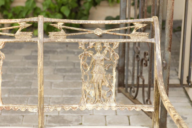 Vintage Wrought-Iron Diana the Huntress Pattern Garden Bench with Upholstery For Sale 4