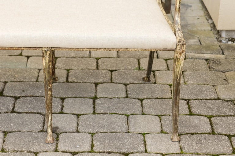 Vintage Wrought-Iron Diana the Huntress Pattern Garden Bench with Upholstery For Sale 5
