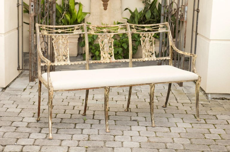 Vintage Wrought-Iron Diana the Huntress Pattern Garden Bench with Upholstery For Sale 6