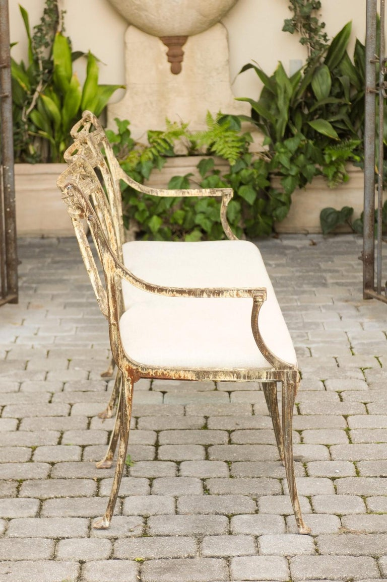 Vintage Wrought-Iron Diana the Huntress Pattern Garden Bench with Upholstery For Sale 7