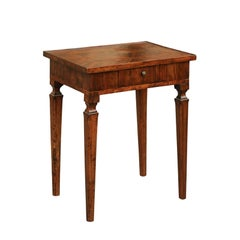 Italian 1820s Neoclassical Walnut Veneered Side Table with Tapered Legs