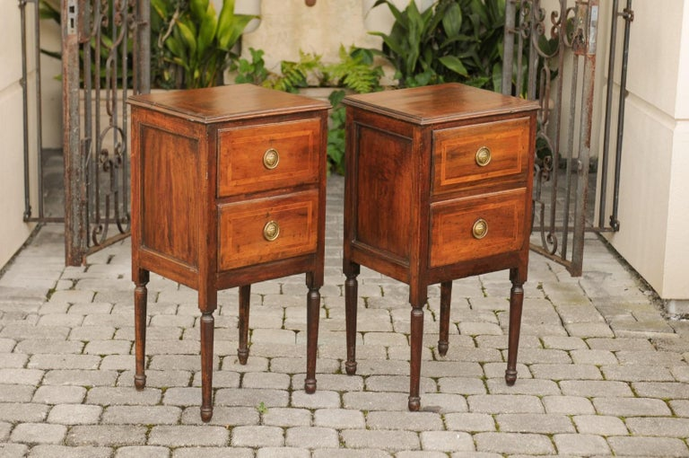 19th Century Pair of Petite Italian 1820s Walnut Two-Drawer Commodes with Crossbanded Inlay For Sale