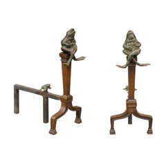 Vintage Pair of American Midcentury Andirons with Cast Bronze Frogs, circa 1950