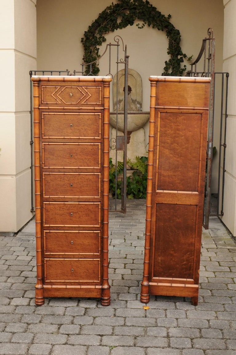 Pair of French, 1870s Faux-Bamboo and Burlwood Semainiers with Marble Tops In Good Condition For Sale In Atlanta, GA