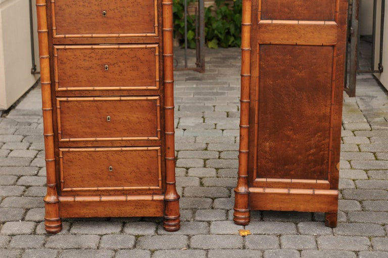Faux Bamboo Pair of French, 1870s Faux-Bamboo and Burlwood Semainiers with Marble Tops For Sale