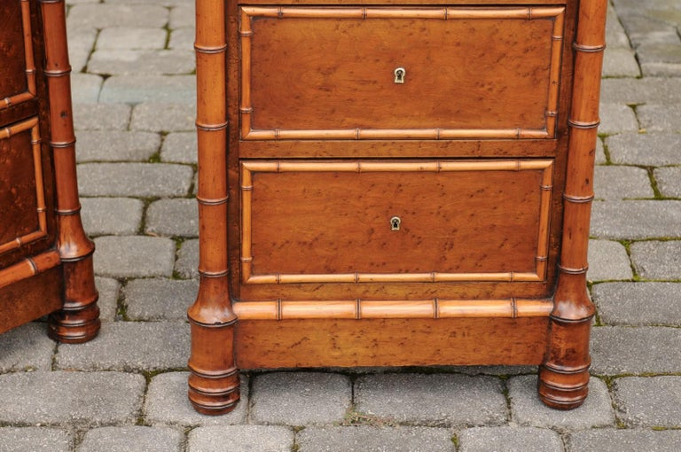 Pair of French, 1870s Faux-Bamboo and Burlwood Semainiers with Marble Tops For Sale 1