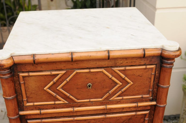 Pair of French, 1870s Faux-Bamboo and Burlwood Semainiers with Marble Tops For Sale 5