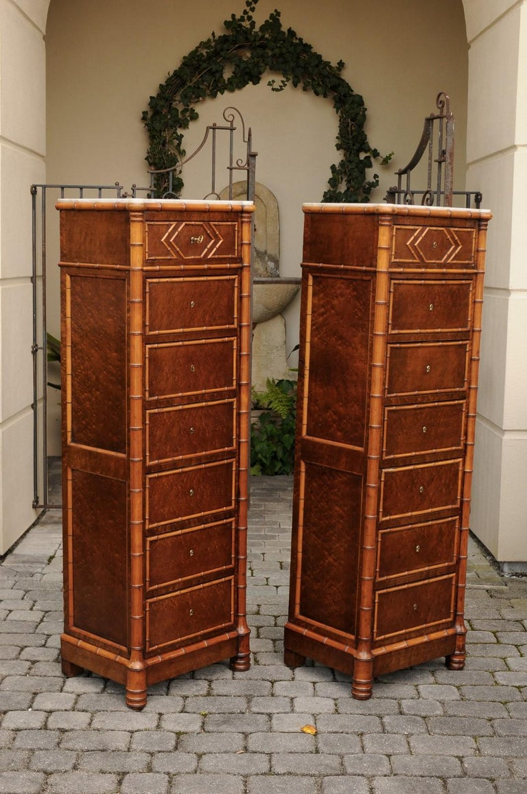 Pair of French, 1870s Faux-Bamboo and Burlwood Semainiers with Marble Tops For Sale 6