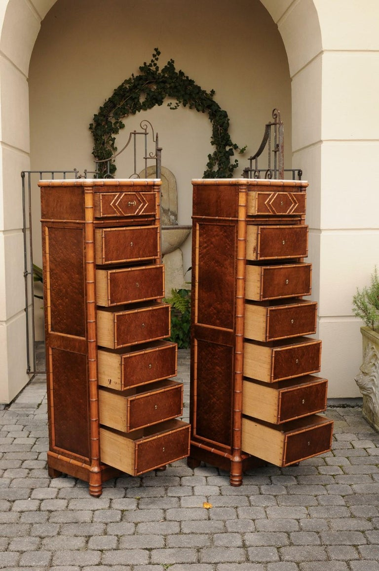 Pair of French, 1870s Faux-Bamboo and Burlwood Semainiers with Marble Tops For Sale 7