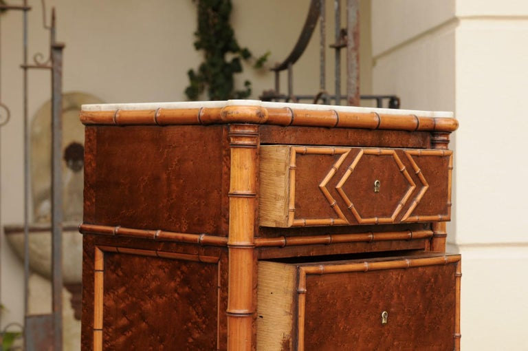 Pair of French, 1870s Faux-Bamboo and Burlwood Semainiers with Marble Tops For Sale 8