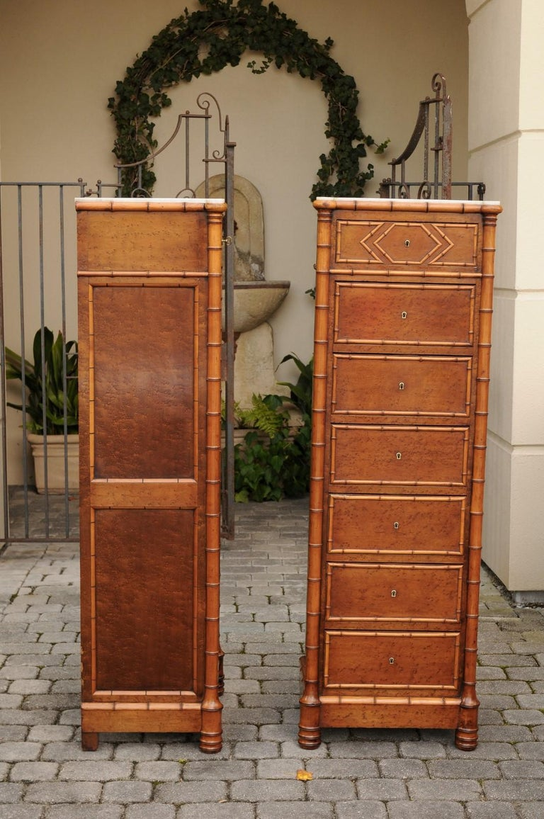 Pair of French, 1870s Faux-Bamboo and Burlwood Semainiers with Marble Tops For Sale 9