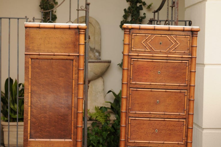 Pair of French, 1870s Faux-Bamboo and Burlwood Semainiers with Marble Tops For Sale 10