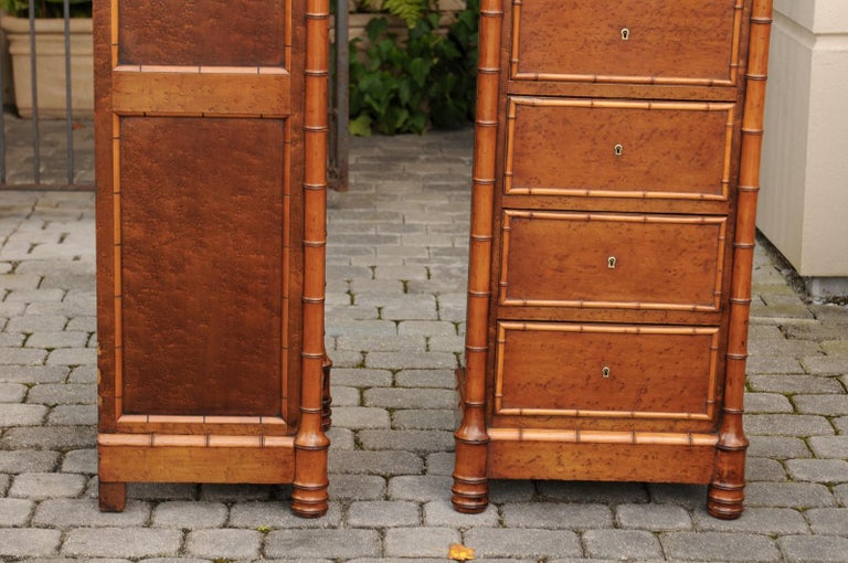 Pair of French, 1870s Faux-Bamboo and Burlwood Semainiers with Marble Tops For Sale 11