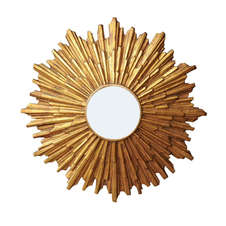 Vintage Italian Midcentury Gilt Composition Sunburst Mirror with Convex Mirror