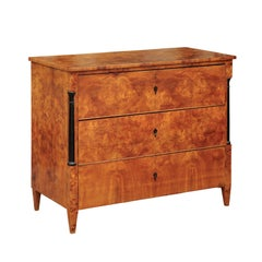Biedermeier 1840s Burl Walnut Three-drawer Commode with Ebonized Semi-Columns
