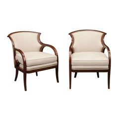Pair of Biedermeier Period 1840s Walnut Upholstered Armchairs with Looping Arms