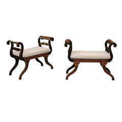 Pair of English 1950s Neoclassical Style Ebonized Benches with Antiquity Scenes