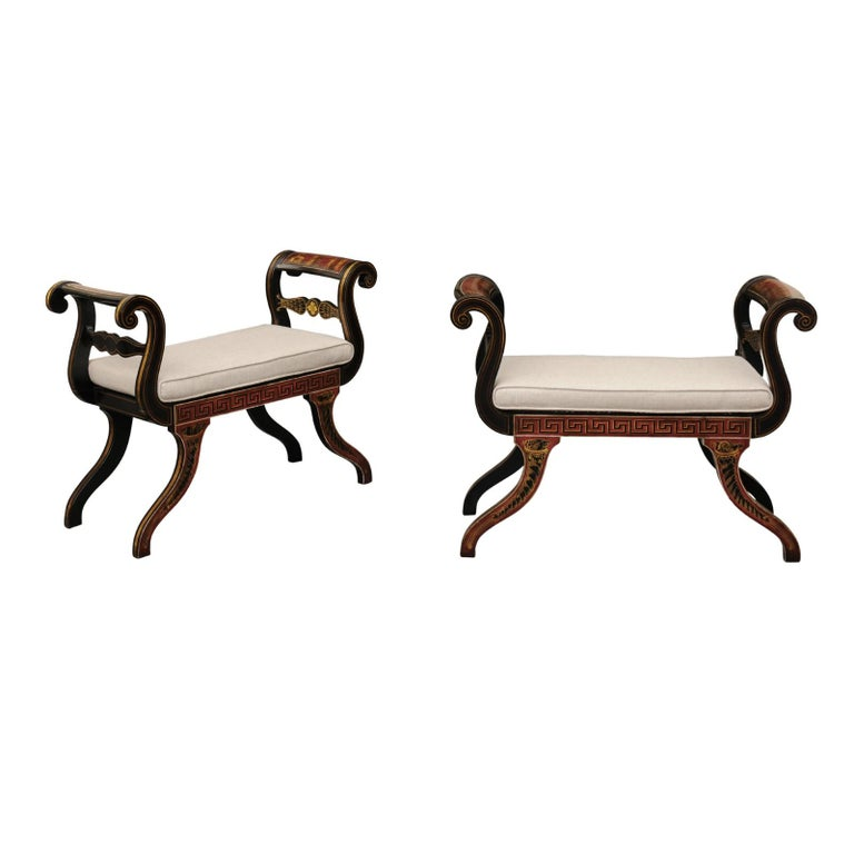 Pair of English 1950s Neoclassical Style Ebonized Stools with Antiquity Scenes