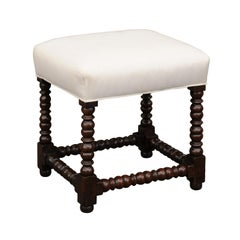 French 1900s Louis XIII Style Oak Stool with Bobbin Legs and New Upholstery