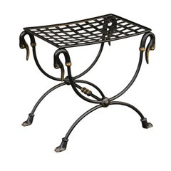 French 1950s Maison Jansen Style Metal Curule Stool with Swan Heads and Paw Feet